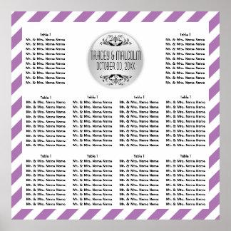 Seating modern purple white stripes poster
