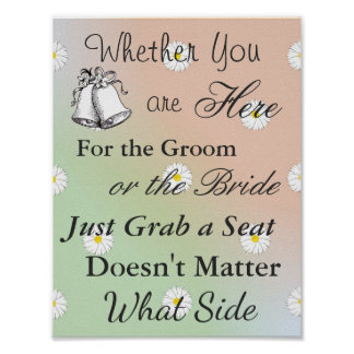 Seating Poster for Wedding, Peach Green Daisy