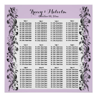 Seating purple white floral swirl poster