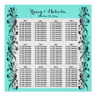 Seating turquoise white floral swirl poster