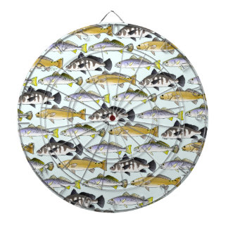 Seatrout and Drum Pattern in blue Dartboard With Darts