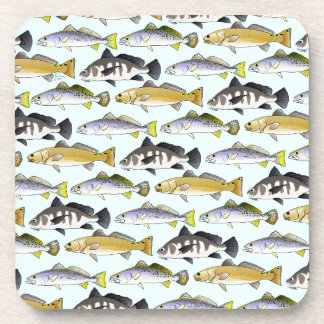 Seatrout and Drum Pattern in blue Drink Coaster