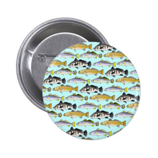 Seatrout and Drum Pattern in blue Pinback Button