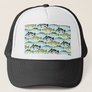 Seatrout and Drum Pattern in blue Trucker Hat