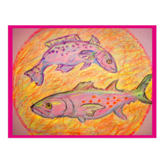 seatrout and spanish mackerel design postcard