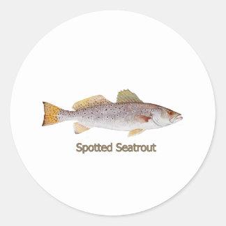 Seatrout manchado (titulado) etiquetas redondas