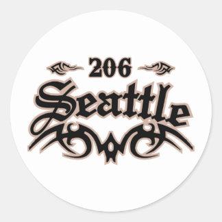Seattle 206 etiquetas redondas