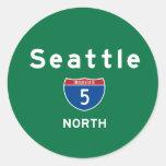Seattle 5 pegatina redonda