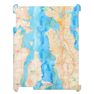 Seattle and Puget Sound Watercolor Map Case For The iPad 2 3 4