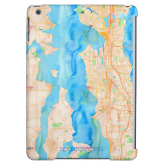 Seattle and Puget Sound Watercolor Map iPad Air Cases