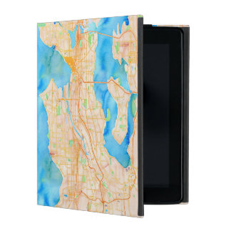 Seattle and Puget Sound Watercolor Map iPad Folio Cases