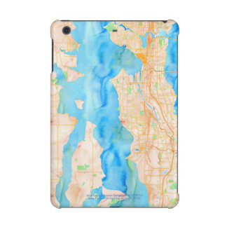 Seattle and Puget Sound Watercolor Map iPad Mini Covers
