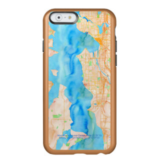 Seattle and Puget Sound Watercolor Map Incipio Feather® Shine iPhone 6 Case