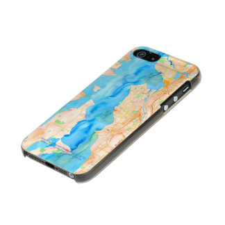 Seattle and Puget Sound Watercolor Map Metallic iPhone SE/5/5s Case