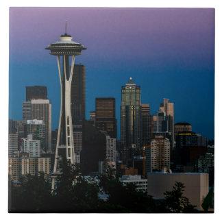 Seattle Architecture Under the Purple Sky Ceramic Tile