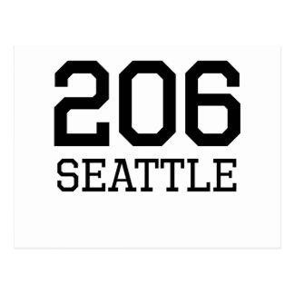 Seattle Area Code 206 Post Card