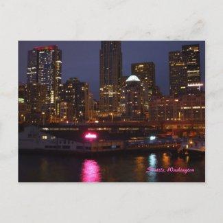 Seattle at Night postcard