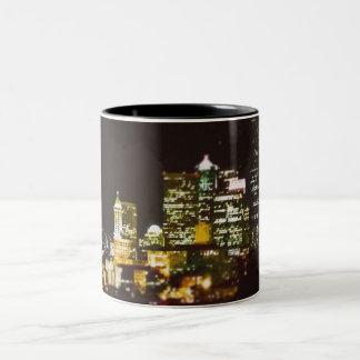 Seattle at night Two-Tone coffee mug