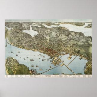 Seattle birdseye map  - 1891 (Koch) BigMapBlog Poster