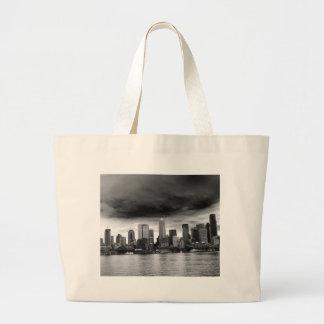 Seattle blanco y negro bolsa tela grande