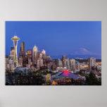 Seattle, centro de la ciudad y el Monte Rainier en Póster