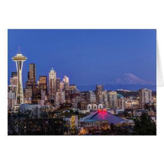 Seattle, centro de la ciudad y el Monte Rainier en Tarjeta De Felicitación