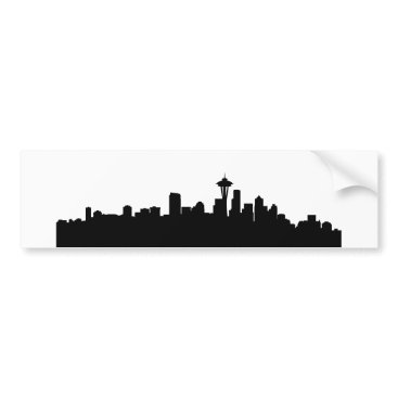 USA Themed seattle city cityscape black silhouette america us bumper sticker
