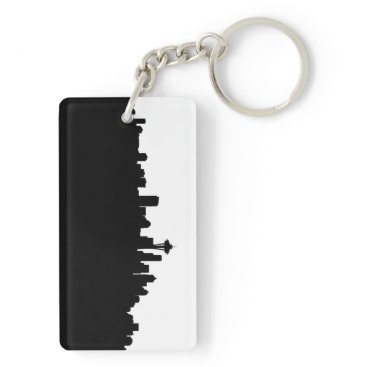 USA Themed seattle city cityscape black silhouette america us keychain