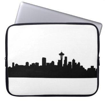 USA Themed seattle city cityscape black silhouette america us laptop sleeve