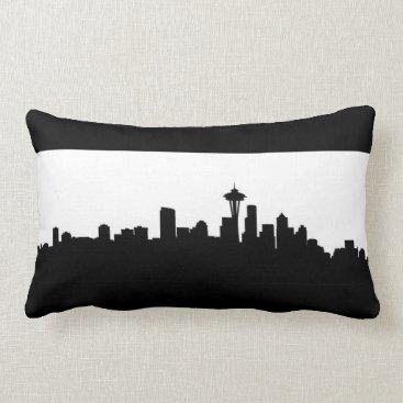 USA Themed seattle city cityscape black silhouette america us lumbar pillow