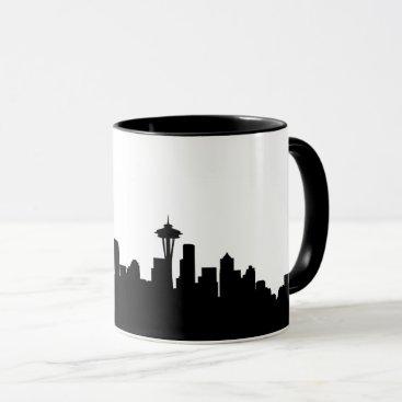 USA Themed seattle city cityscape black silhouette america us mug