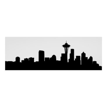 USA Themed seattle city cityscape black silhouette america us poster