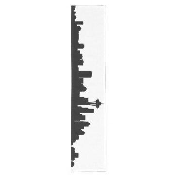 USA Themed seattle city cityscape black silhouette america us short table runner