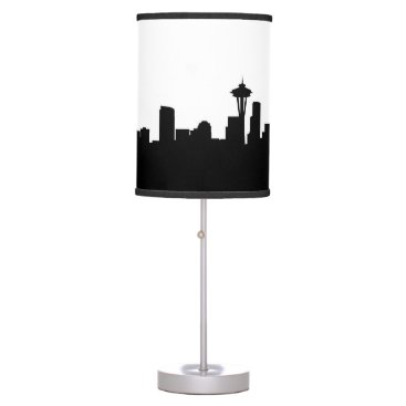 USA Themed seattle city cityscape black silhouette america us table lamp