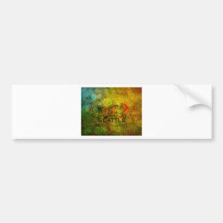 Seattle City Skyline on Grunge Background Illustra Bumper Sticker