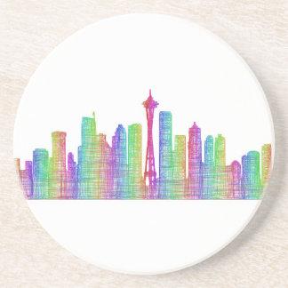 Seattle city skyline sandstone coaster