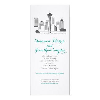 "Seattle City Skyline Wedding Invitation 4"" X 9.25"" Invitation Card"