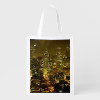Seattle city view reusable grocery bag