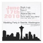 """Seattle Cityscape Save the Date 5.25"""" Square Invitation Card"""