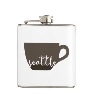 Seattle coffee mug illustration hip flask