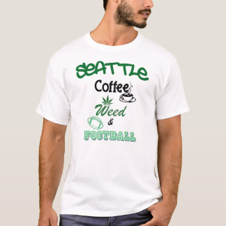 Seattle Coffee Weed and Football by U.S. Custom In T-Shirt