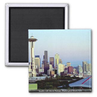 Seattle con el Monte Rainier estado de Washington Iman De Nevera