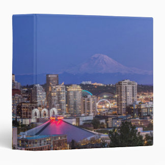 Seattle, Downtown and Mt. Rainier at Twilight 3 Ring Binder