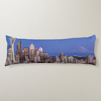 Seattle, Downtown and Mt. Rainier at Twilight Body Pillow
