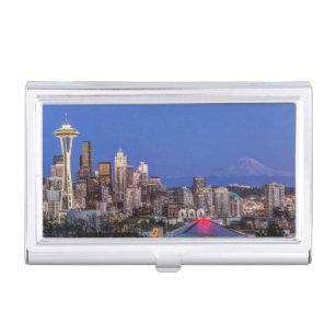 Space business card holders cases zazzle seattle downtown and mt rainier at twilight business card case colourmoves