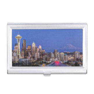 Seattle, Downtown and Mt. Rainier at Twilight Business Card Case