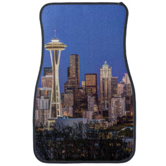 Seattle, Downtown and Mt. Rainier at Twilight Car Mat