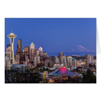 Seattle, Downtown and Mt. Rainier at Twilight Card