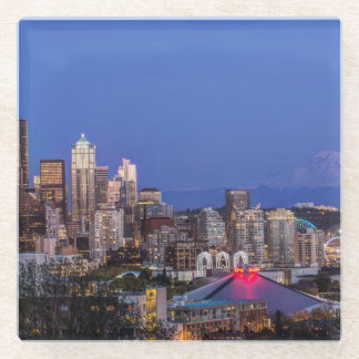 Seattle, Downtown and Mt. Rainier at Twilight Glass Coaster