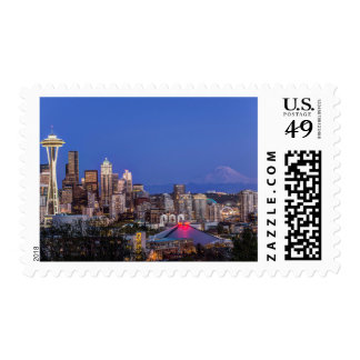 Seattle, Downtown and Mt. Rainier at Twilight Postage